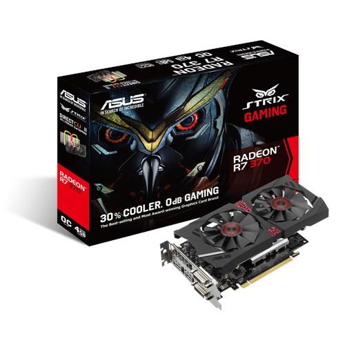 PLACA DE VIDEO 4GB PCIEXP R7 370 STRIX-R7370-DC2OC-4GD5-GAMING 256BITS GDDR5 ASUS BOX