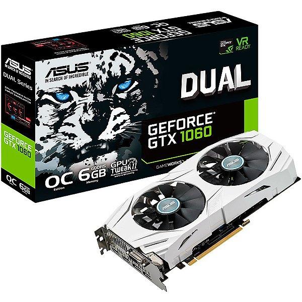 PLACA DE VIDEO 6GB PCIEXP GTX 1060 DUAL-GTX1060-O6G 192 BITS DDR5 DVI/HDMI/DP ASUS BOX