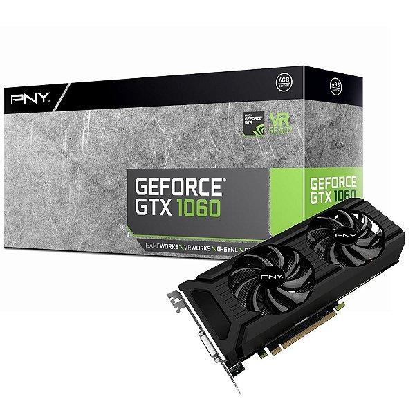 PLACA DE VIDEO 6GB PCIEXP GTX 1060 VCGGTX10606PB 192 BITS DDR5 GEFORCE PNY BOX