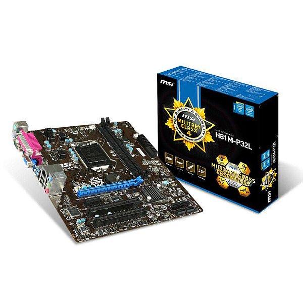 PLACA MAE 1150 MICRO ATX H81M-P32L DDR3 MSI BOX