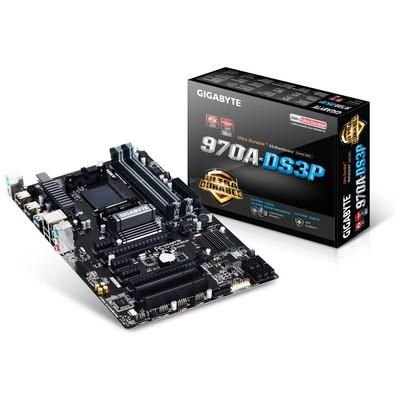PLACA MAE AM3 ATX GA-970A-DS3P DDR3 USB 3.0 CROSSFIREX UEFI DUALBIOS BOX