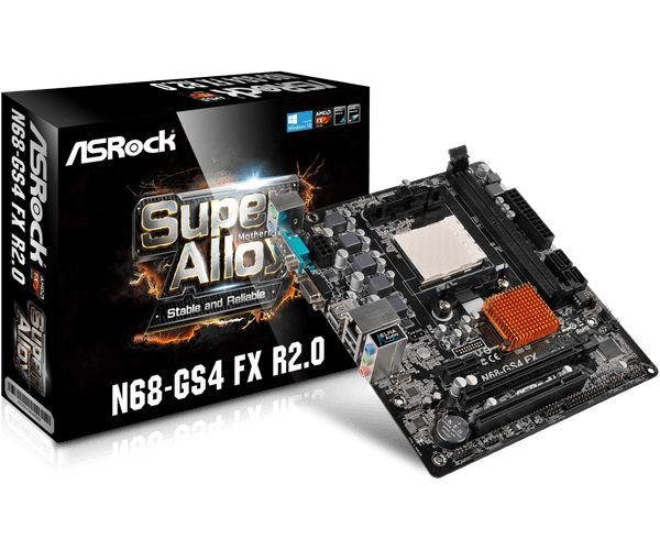 PLACA MAE AM3 MICRO ATX N68-GS4 FX R2.0 DDR3 ASROCK BOX IMPORTADO