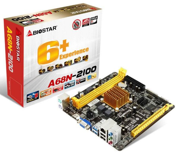 PLACA MAE COM PROC MINI-ITX A68N-2100 DDR3 VGA/HDMI BIOSTAR BOX