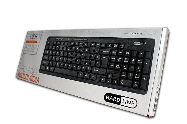 TECLADO USB K-4401 MULTIMIDIA PRETO HARDLINE BOX