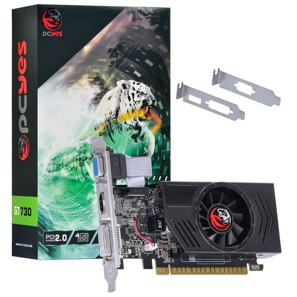 PLACA DE VIDEO 4GB PCIEXP GT 730 PA730GT12804D3 128BITS DDR3 PCYES BOX