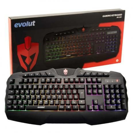 TECLADO USB EG-201 GT-KB465L 114 TECLAS GAMER C/ LED EVOLUT BOX