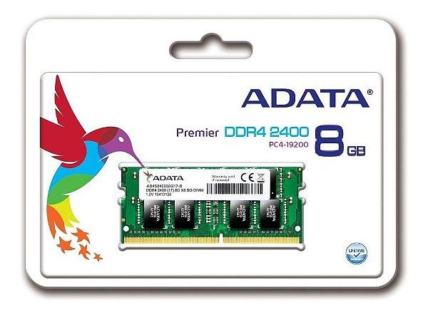 MEMORIA 8GB DDR4 2400 MHZ NOTEBOOK AD4S240038G17-S ADATA BOX