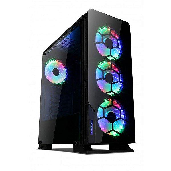 GABINETE MID-TOWER DIAMOND RGB GAMER S/ FONTE USB 3.0 LATERAL EM VIDRO TEMPERADO LIKETEC BOX