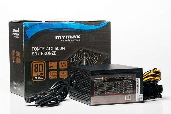 FONTE ATX 500W MPSU/FP550W 80 PLUS - BRONZE MYMAX BOX