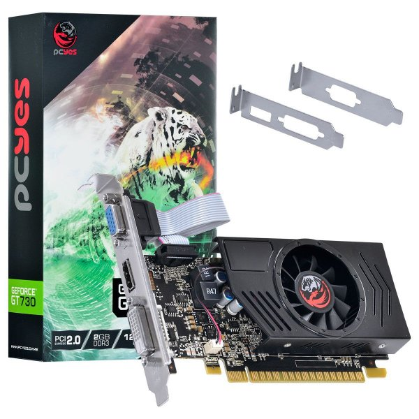 PLACA DE VIDEO 2GB PCIEXP GT 730 PA730GT12802D3LP 128BITS DDR3 GEFORCE VGA/HDMI/DVI-D PCYES BOX