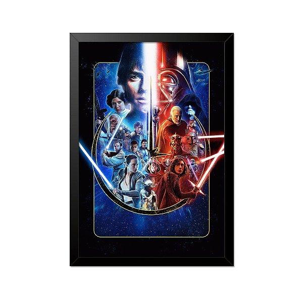 Quadro Poster Star Wars Personagens 33x23cm