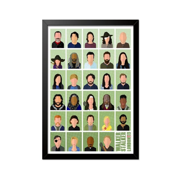 Quadro Poster The Walking Dead Personagens 33x23cm