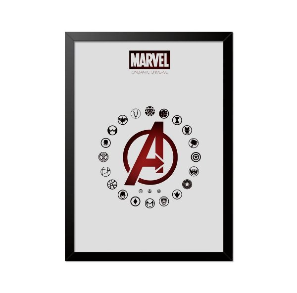 Quadro Poster Vingadores Logos 33x23cm