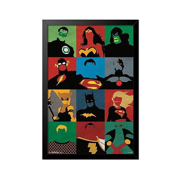 Quadro Poster DC Super Heróis 33x23cm