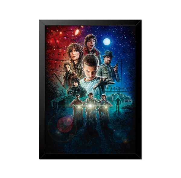 Quadro Poster Stranger Things Personagens 33x23cm