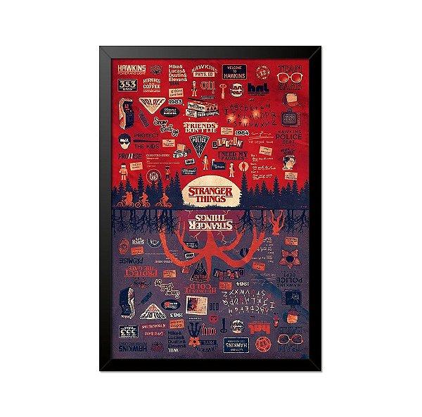 Quadro Poster Stranger Things Referências 33x23cm