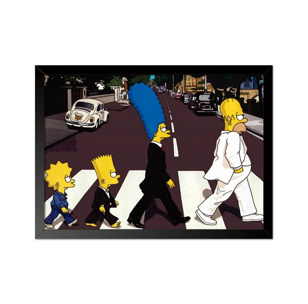 Quadro Poster Simpsons Beatles Abbey Road 33x23cm