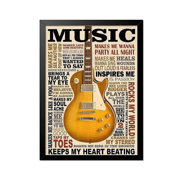 Quadro Poster Music 33x23cm