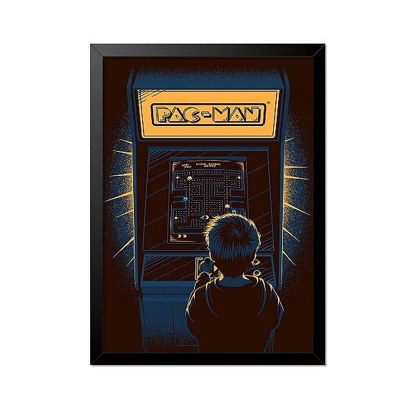 Quadro Poster Fliperama Pac Man 33x23cm