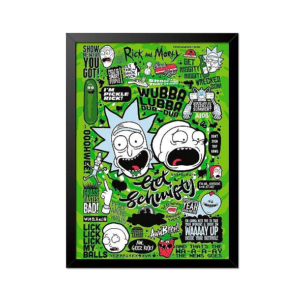Quadro Poster Rick and Morty Referências 33x23cm