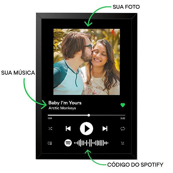 Quadro Interativo Música Spotify Com Moldura E Vidro