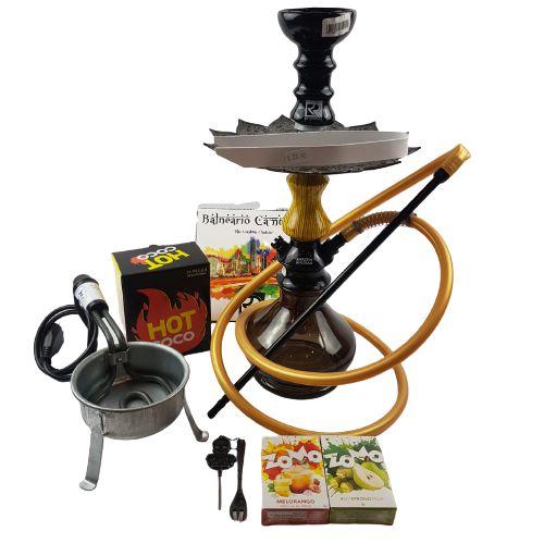Kit Narguile Completo Amazon Hookah - Preto/Amarelo e Preto/Preto + Brinde 2 Essencias