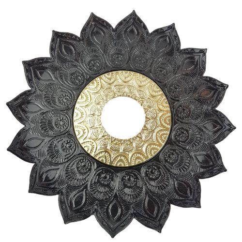 Prato Flowers JN - Preto e Dourado