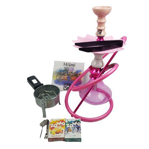 Kit Narguile Completo Amazon Hookah - Rosa/Marmorizado Rosa/Rose + Brinde 2 Essencias