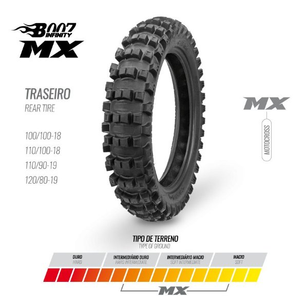 PNEU BORILLI MX 120/80/19 - MOTO CROSS / ENDURO