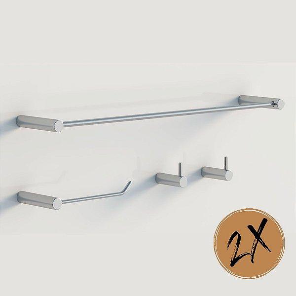 Kits de banheiro Cromo 8pçs metal polido Grego