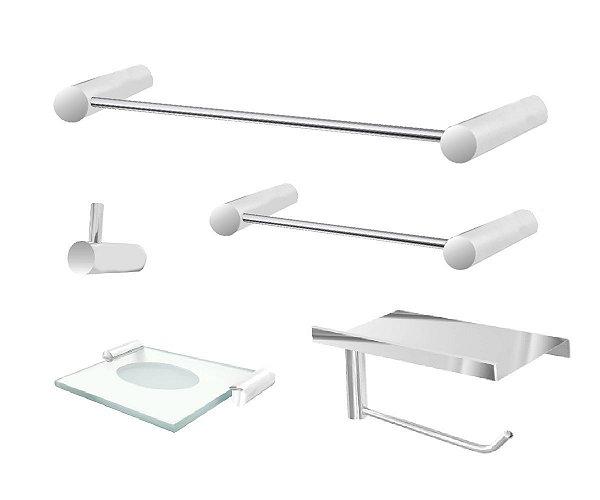Conjunto de banheiro com suporte para acessórios aço inox e metal 100CP Grego Metal