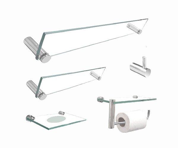Kit de banheiro 5 peças com papeleira suporte para acessórios 201RT Grego Metal