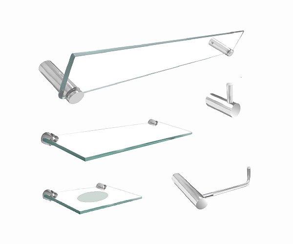 Kit para banheiro vidro com suporte de prateleira 5 peças 203RT Grego Metal