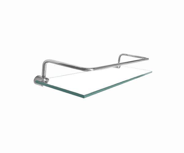 Prateleira porta shampoo de vidro com proteção 210RT Grego Metal