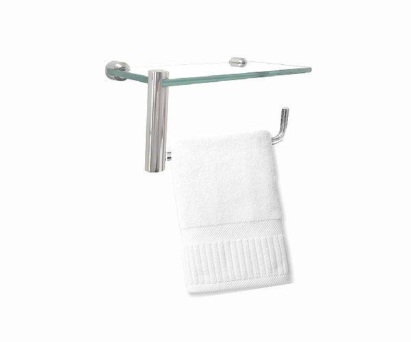 Porta toalha com suporte para acessórios de vidro 211RT Grego Metal