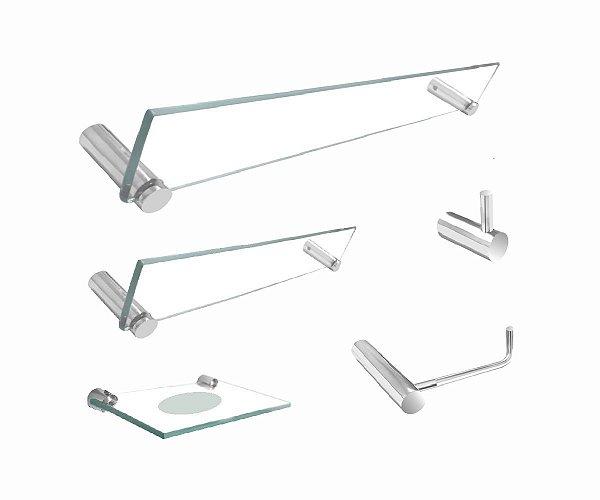 Kit para banheiro acessórios de vidro 5 peças 200RT Grego Metal