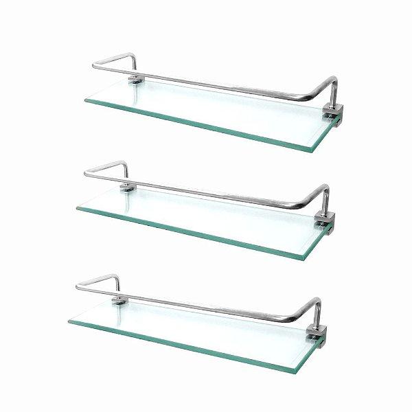 Prateleira em Vidro Proteção (Kit 3 Peças) Prátika 821PK3