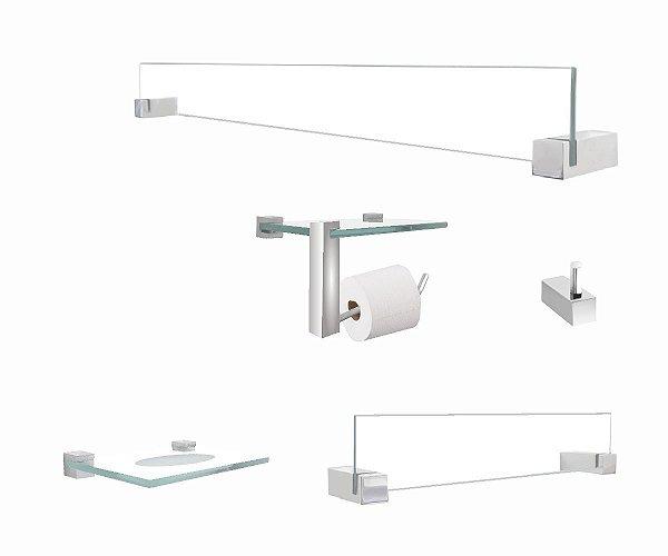 Kit acessórios vidro papeleira com suporte para acessório 401VT Grego Metal