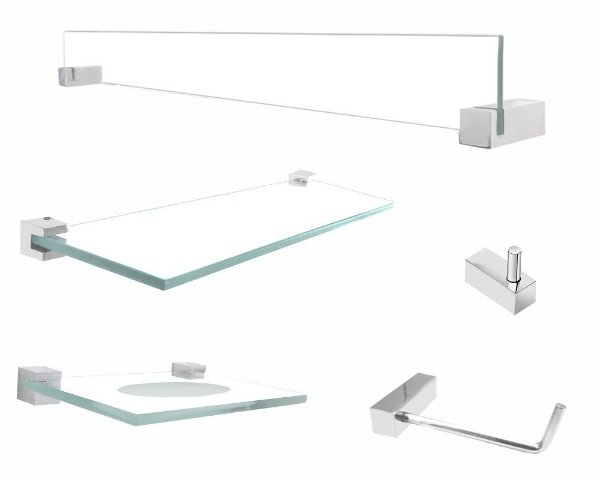 Kit de acessórios banheiro com prateleira 5 peças 403VT Grego Metal