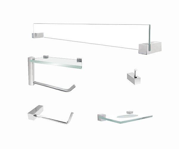 Acessórios de banheiro com apoio suporte 5 peças 402VTA Grego Metal