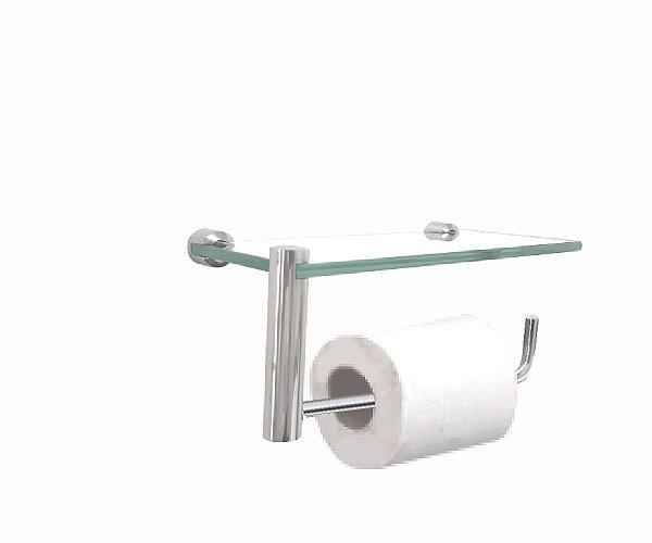 Porta papel higiênico com suporte acessórios vidro 212RTB Grego Metal