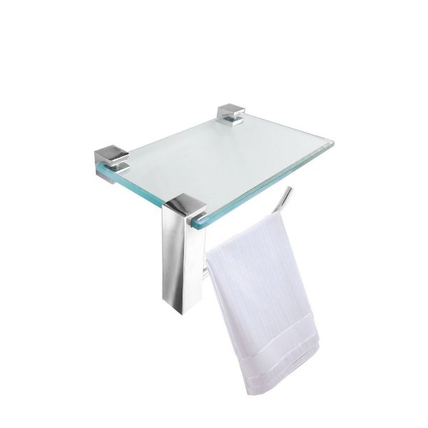Porta Toalha Vidro com Apoio para Acessórios Vitralle 411VTB Grego Metal