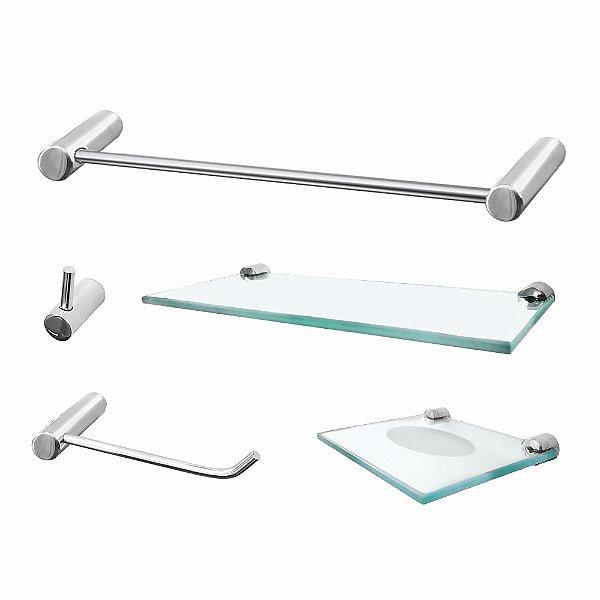 Acessórios para Banheiro Metal 5 Peças Luxo Slim 501LSB Grego Metal