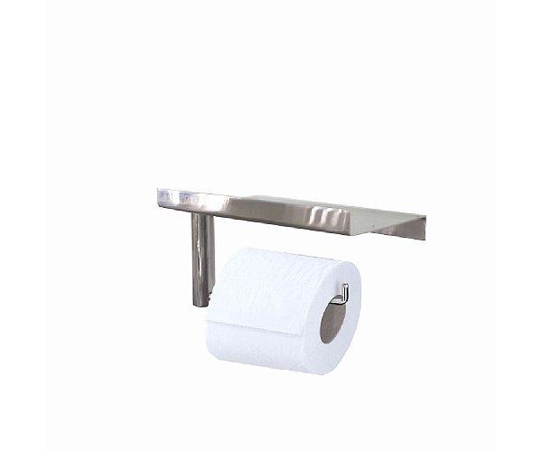 Papeleira de banheiro com suporte para acessórios aço inox 114CPA Grego Metal