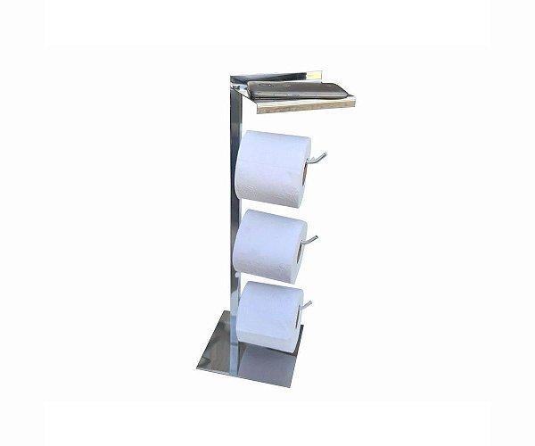 Suporte papel higiênico triplo com apoio para acessórios aço inox 317DCA