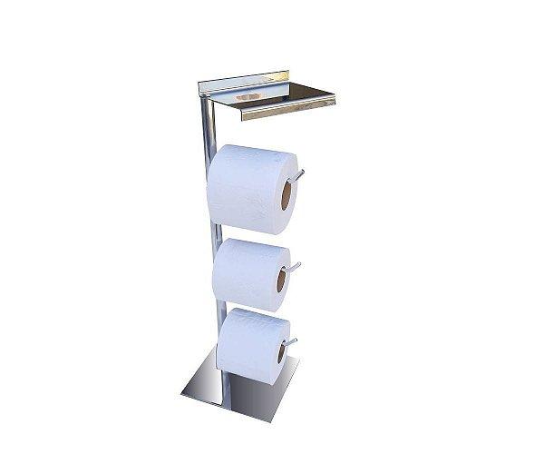 Papeleira de piso tripla com suporte para acessórios aço inox 117CP Grego Metal