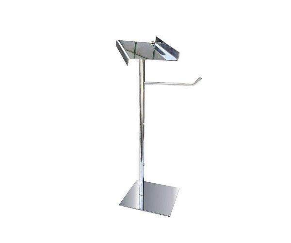 Porta toalha de bancada com suporte para acessórios metal aço inox 115CPA Grego Metal