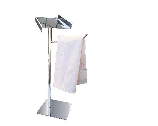 Toalheiro simples de bancada metal com suporte para acessórios aço inox 115CPC Grego Metal