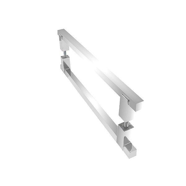 Puxador duplo para portas de madeira vidro 80 cm escovado 100PM Grego Metal