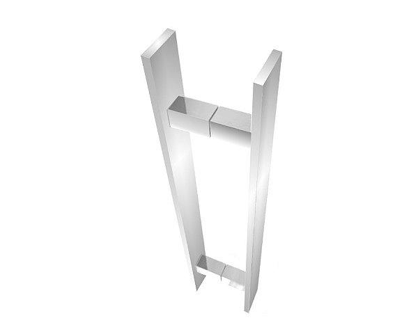Puxador para porta madeira/vidro [Decor 300DC] duplo 60 cm escovado Grego Metal